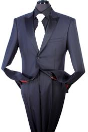 Two Piece Taylor Fit 100% Wool Suit - Tuxedo Style BlackDark Navy - Dark Blue Suit