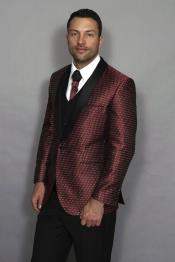 Mens Modern Fit Notch Lapel Burgundy ~ Wine ~ Maroon Color 3 Piece Two Tone Fashion Suit