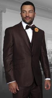 Mens Modern Fit 3 Piece Notch Lapel Copper Two Tone Fashion Suit