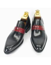 Two Toned Slip On Style Fashionable Carrucci Black/Cognac Loafer