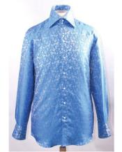 High Collar Blue Unique Pattern Shiny Shirts