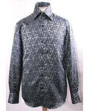 High Collar Black Pattern Shiny Shirts