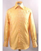 Gold Unique Pattern Shiny Shirt Night Club Outfit guys Wear For Men Clothing Fashion