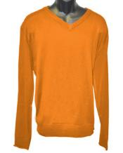 Mens Orange V Neck Long Slevee Sweater Available in Big And