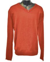 Mens Rust V Neck Long Slevee Sweater Available in Big And