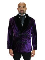 Mens Double Breasted Vintage Velvet Smoking Purple Jacket
