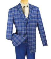 Mens Plaid 3 Piece Blue Single Breasted Classic Fit Fashion Compose Suit