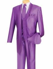 Mens Violet 5 Piece Shawl Lapel Shiny Fashion Single Breasted Ensemble Tuxedo