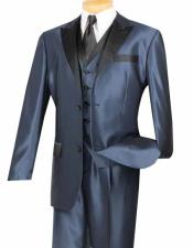 Shiny Midnight Blue Two Button Mens Peak Collar 3 Piece Entertainer
