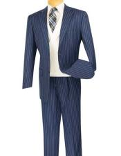 Bold Chalk Pronounce Stripe ~ Pinstripe Blue Mens 2 Button Striped 1920s