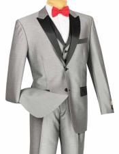 Mens 3 Piece Classic Retro Style 2 Button Shiny Gray Tuxedo