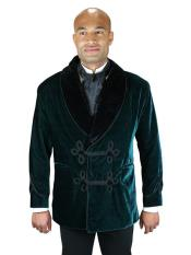 Mens Double Breasted Vintage Velvet Smoking Green Jacket