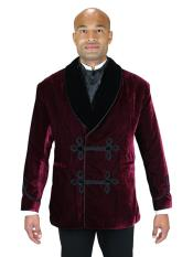 Mens Double Breasted Vintage Velvet Smoking Burgundy ~ Wine ~ Maroon