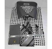 Cotton Large Basket Weave Pattern Black White French Cuff Mens Dress Shirt