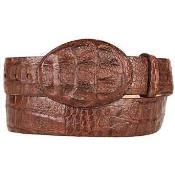 Caiman Hornback Skin Western Style Belt Brown