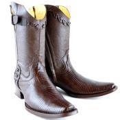 Wh-Dimond Western Cowboy Boot Bota Europea Piel Lizard Cafe