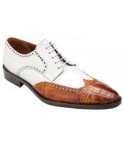 Mens Lace Up Antique Almond ~ White Genuine World Best Alligator ~ Gator Skin ~ Italian Calfskin