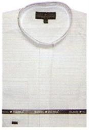 Poly Mens Banded Collar dress shirts Mandarin Collarless Preacher Round Style White