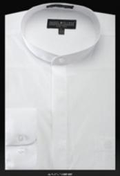 Mao Chines Style No Collar Basic Banded Collar dress shirts Mandarin Collarless Preacher Round Style White