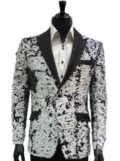 and Black Two Toned Sequin Dinner Jacket Blazer ~ Sport coat