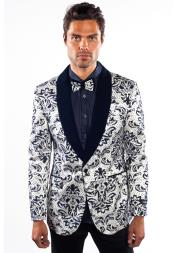 Mens Flashy Shiny Sequin Blazer ~ Sport Coat White/Black