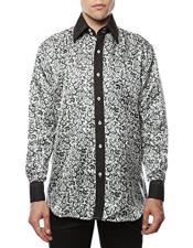 White-Black Shiny Satin Floral Spread Collar Paisley Dress Shirt Flashy Stage