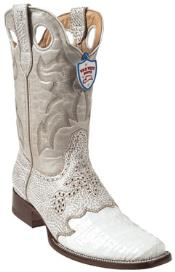Wild West White Caimen Belly Wild Rodeo Toe Boots