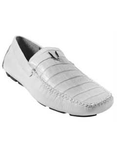 White Genuine Caimen Belly Driver Vestigium Driving Shoes slip on loafers for men