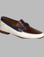 Mens Mezlan White Multi Genuine Crocodile Slip On Shoes Authentic Mezlan Brand