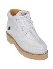 Mens Lace Up White Genuine Crocodile And Ostrich Los Altos Shoes