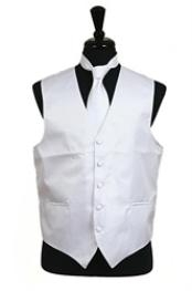 Rib Pattern Dress Tuxedo Wedding Vest Tie Set White