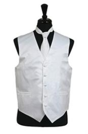 Tuxedo Wedding Vest Tie Set White