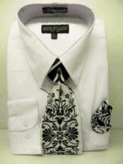 White Combinations Set Tie Mens Dress Shirt