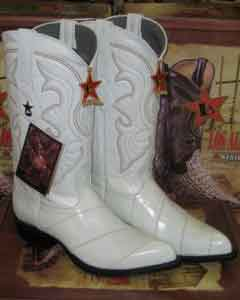 Los Altos White Genuine Eel Western Cowboy Boot