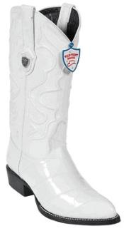 West White Eel Cowboy Boots