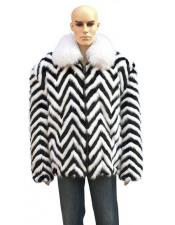 White Fox Collar Fur Black/White Zipper Jacket