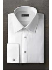 White Laydown Tuxedo Shirt With Frenched Cuffed Regular Fit