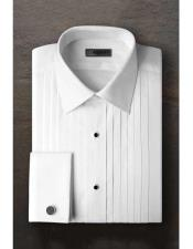 Regular Fit Pleated Laydown Tuxedo Shirt With Frenched Cuffed Ted Baker