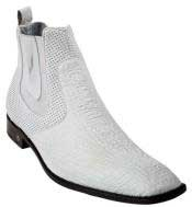 White Genuine Shark Dressy Boot Ankle Dress Style For Man