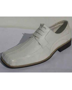Brand Mens White Leather Pleated Vamp Heel Shoe