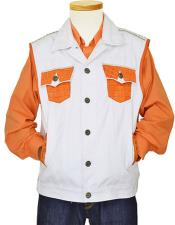 Mens White/Orange Genuine Hornback World Best Alligator ~ Gator Skin/Denim 5