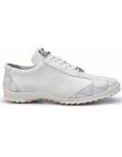 Authentic Genuine Skin Italian Paulo White Genuine Ostrich / Soft Calfskin Casual Dress Sneaker