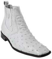 Mens Genuine White Full Quill Ostrich Dressy Boot Ankle Dress Style For Man