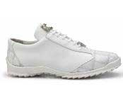 Paulo Authentic Belvedere Exotic Skin Brand Genuine White Ostrich and Soft Calf Leather Lining Shoe