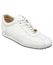 Mens White Genuine Ostrich Casual Leather Sneakers