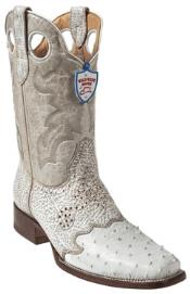 Wild West White Ostrich Wild Rodeo Toe Boots
