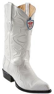 West White Ostrich Leg Cowboy boots - Botas De Avestruz