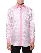 Shiny Satin Floral Spread Collar Paisley Dress Club Clubbing Clubwear Shirts Flashy