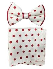 White / Red Polyester Satin dual colors (Red Polka Dot) Bowtie with hankie
