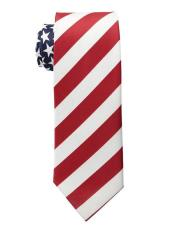 Trendy American Flag Pattern White/Red Polyester Neck Ties